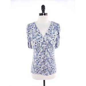 Free People Floral Button Front Top